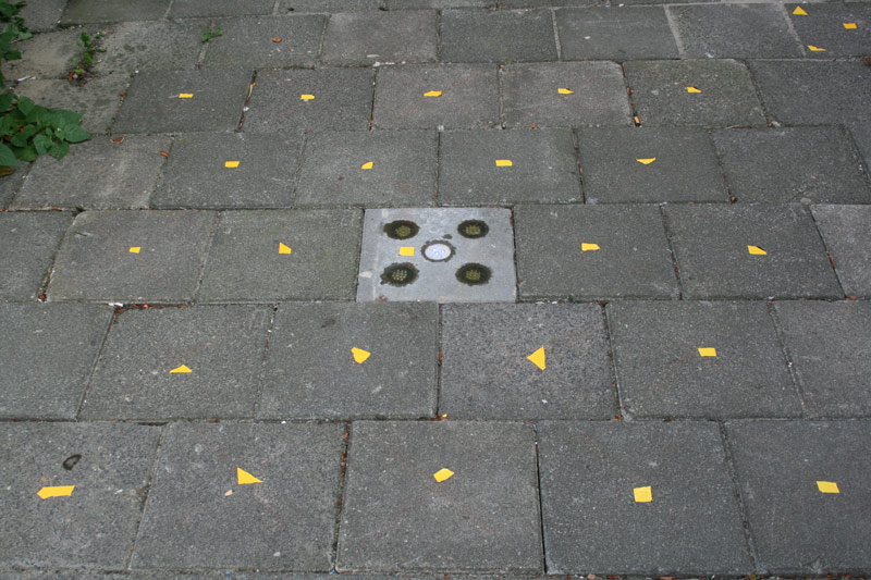 Marked tiles indicating where the LED could be